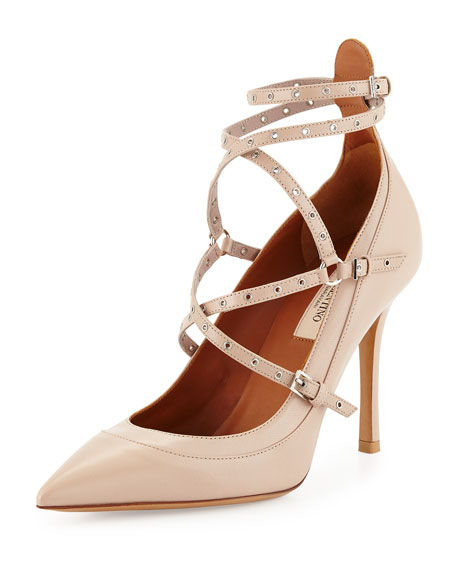 Valentino Studded Ankle-Wrap Pump, Powder
