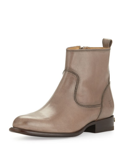 Danielle Short Leather Ankle Boot, Gray
