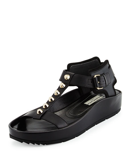 Balenciaga Studded Flat Leather Sandal, Noir
