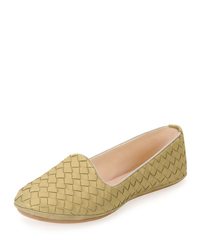 Napa Intrecciato Woven Smoking Slipper, Camel