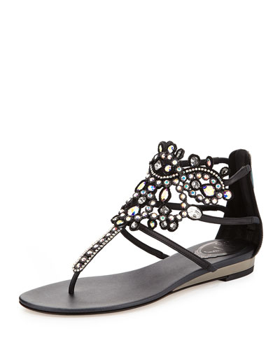 Crystal-Chandelier Thong Sandal, Black
