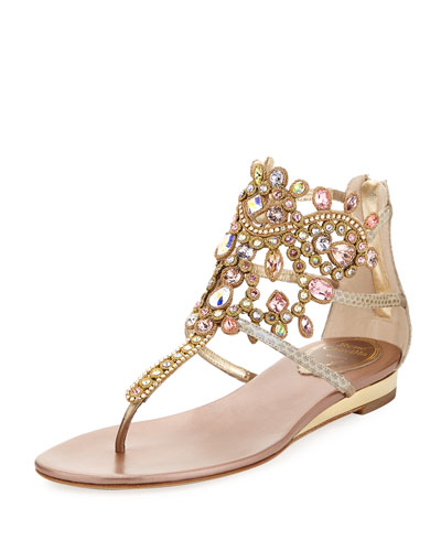 Crystal-Chandelier Snakeskin Thong Sandal, Multicolor