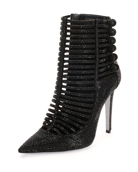 Strass Caged High-Heel Bootie, Jet Black