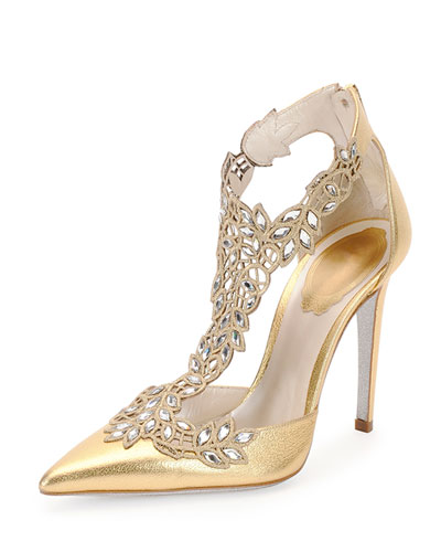 Crystal-Lace Metallic Leather Pump, Gold
