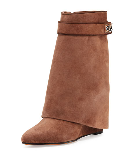 Givenchy Shark Lock Fold-Over Boot, Dark Brown