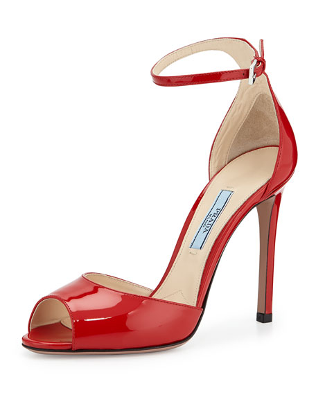 Prada Open-Toe Patent Leather Sandal, Rosso