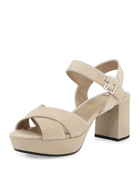 replica handbag suppliers - Prada Crisscross Suede Platform Sandal, Quarzo