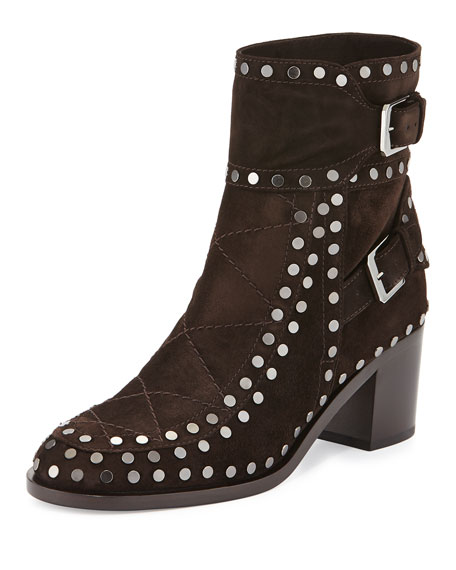Laurence Dacade Gatsby Studded Ankle Boot, Dark Brown