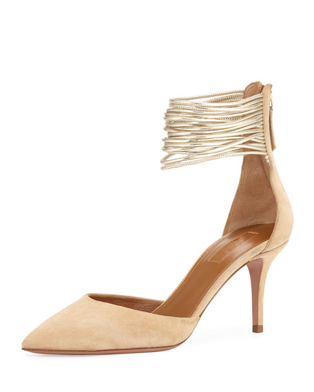 Aquazzura Hello Lover 75mm Pump, Nude