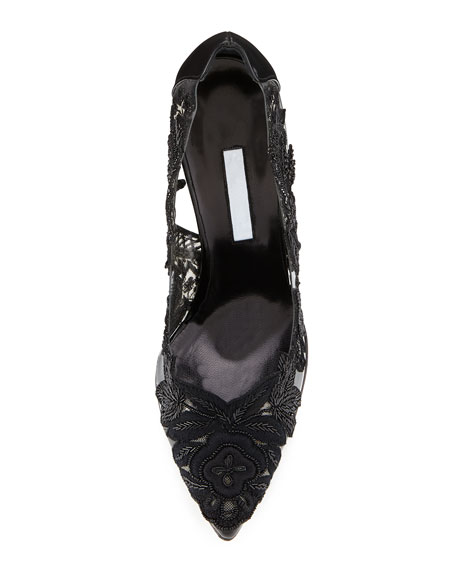 Alyssa Embroidered-Illusion Pump, Black