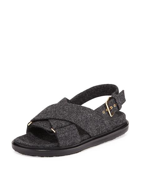 Marni Flannel Crisscross Flat Sandal, Dark Anthracite