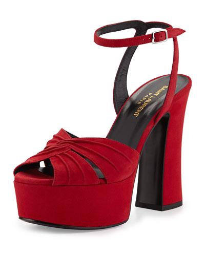 Candy Suede Platform Sandal, Rouge