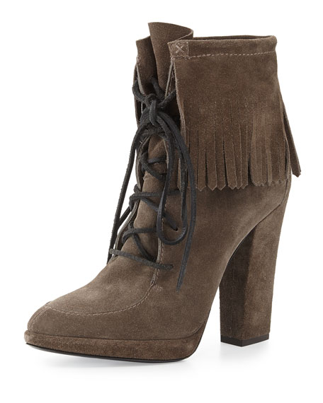 Giuseppe Zanotti Lace-Up Suede Fringe Bootie, Bison (Bisonte)