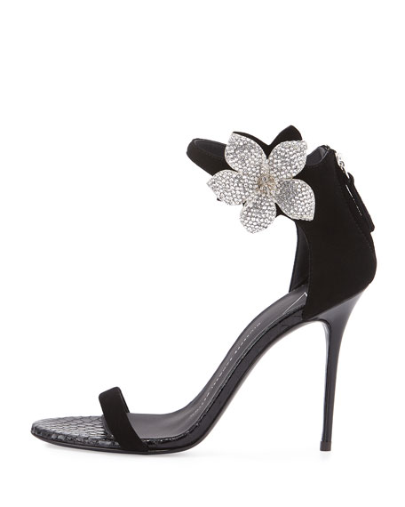 Crystal-Flower d'Orsay Sandal, Black (Nero)