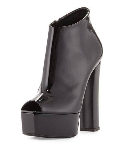 Lavinia Peep-Toe Platform Bootie, Black
