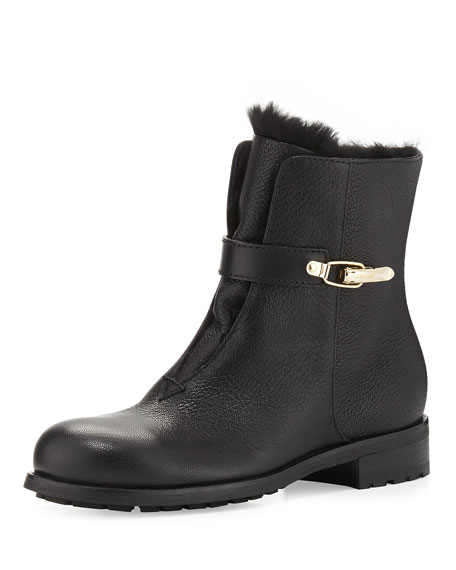 Jimmy Choo Duffel Fur-Lined Leather Ankle Boot, Black
