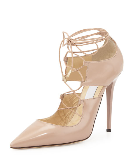 Jimmy Choo Hoops Lace-Up Leather Pump, Pink