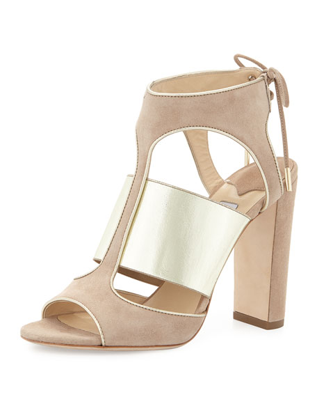 Jimmy Choo Moira Suede Ankle-Tie Sandal, Nude/Champagne