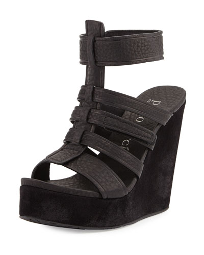 Taylin Multi-Strap Wedge Sandal, Black