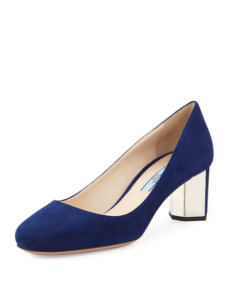 Suede Metal-Heel Pump, Navy