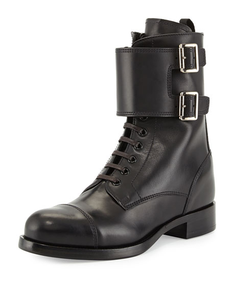 Prada Leather Lace-Up Combat Boot, Black (Nero)