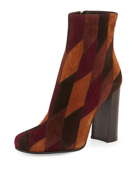Prada Patchwork Suede Ankle Boot Spice Neiman Marcus