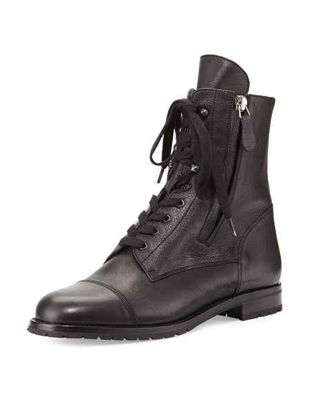 Manolo Blahnik Campchalo Leather Lace-Up Boot, Black
