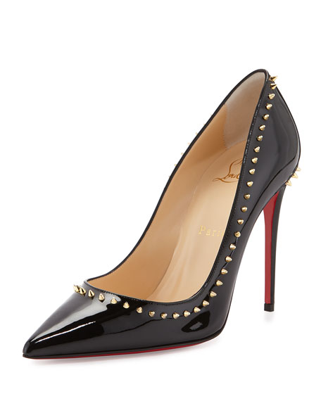 Anjalina Spike Patent Red Sole Pump, Black/Golden