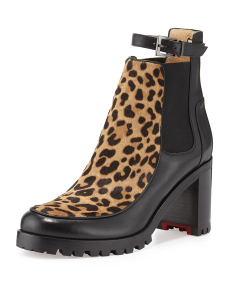 Christian Louboutin Yetata Calf-Hair Chelsea Boot, Brown