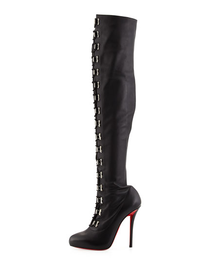 Top Croche Over-the-Knee Red Sole Boot, Black