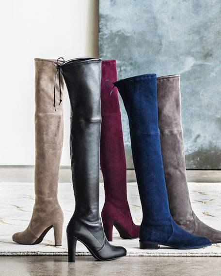 Highland Suede Over-The-Knee Boot, Bordeaux