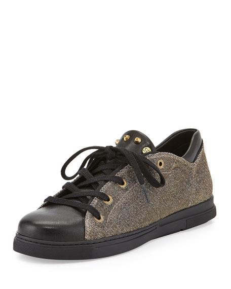 Stuart Weitzman Touchdown Glitter-Pyrite Sneaker, Pyrite
