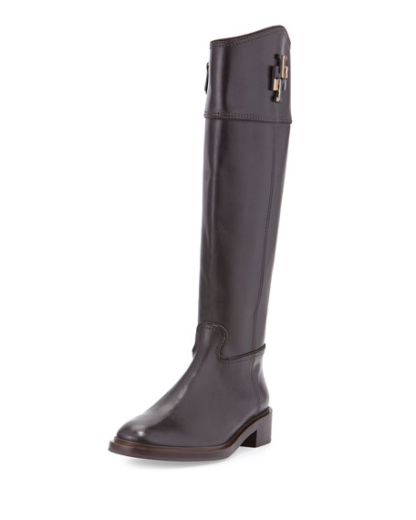 Tory Burch Lowell Logo Riding Boot, Coconut