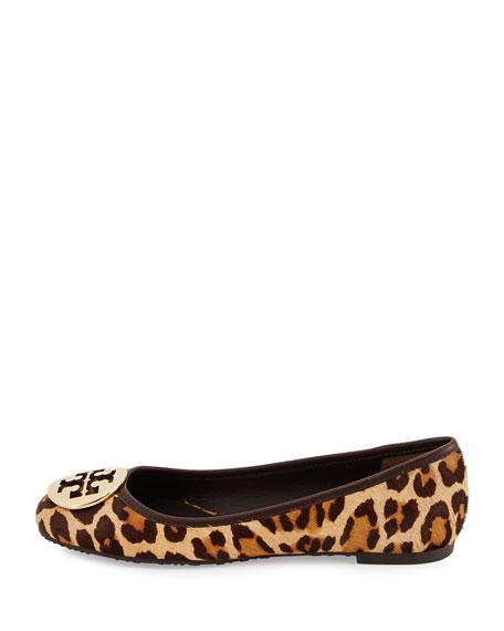 Tory Burch Reva Leopard-Print Fur Logo Flat