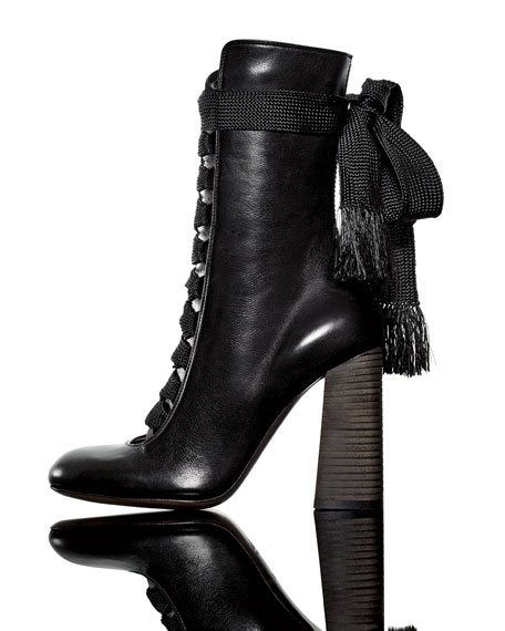39004ba39a Leather Lace-Up Boot, Black