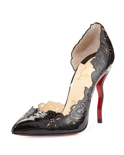 Beloved Laser-Cut Patent Red Sole Pump, Black