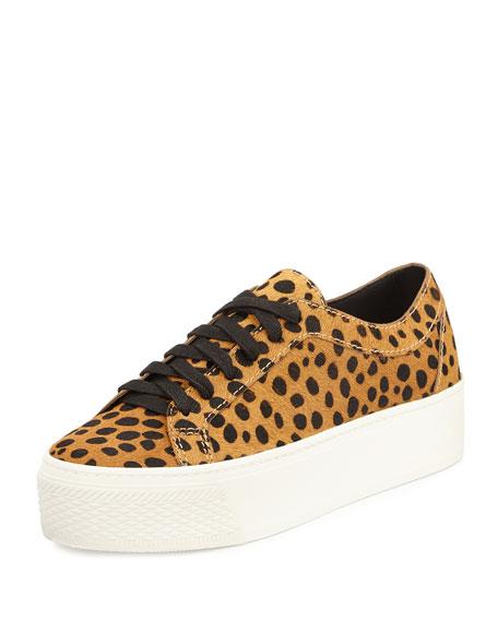 Loeffler Randall Miko Calf-Hair Platform Sneaker, Cheetah