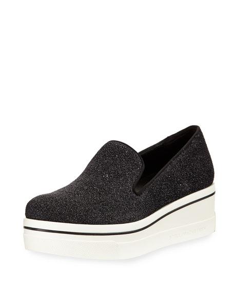 Stella McCartney Shimmer Platform Slip-On Sneaker, Black