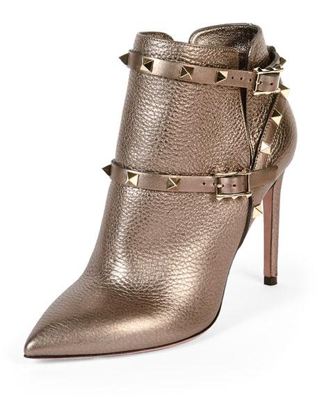 Valentino Rockstud Metallic Ankle Bootie, Stone