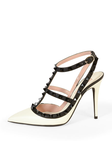 Rockstud Colorblock Leather Sandal, Ivory/Black