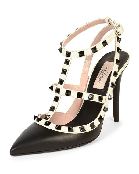 Valentino Rockstud Colorblock Leather Sandal, Black/Ivory