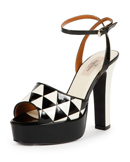 Valentino Shiny Fever Ankle-Wrap Sandal, Black/Ivory