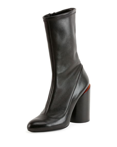 Leather Wide-Heel Show Boot, Black/Red