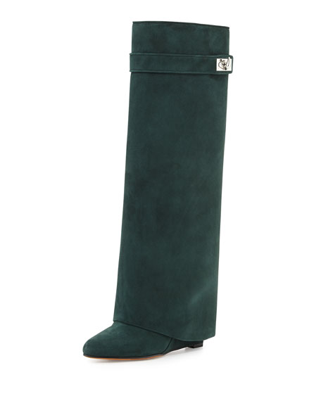 Givenchy Suede Shark-Lock Fold-Over Boot, Forest Green
