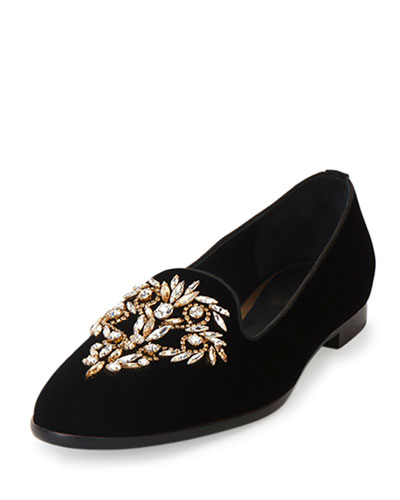 Crystal-Embellished Smoking Slipper, Black