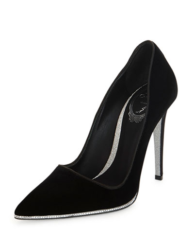 Decollete Crystal-Sole Pump, Black