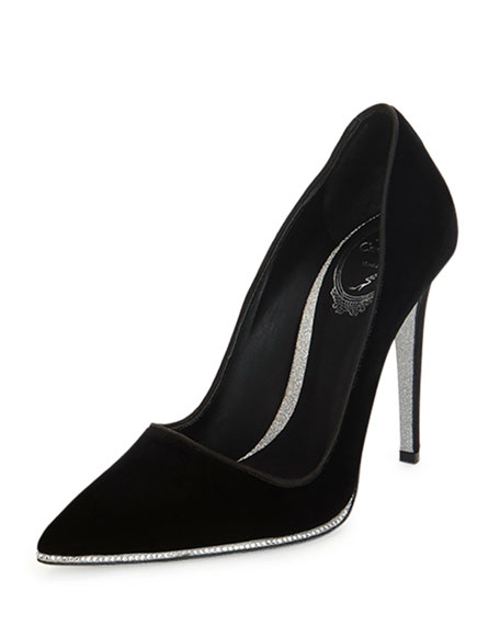 Rene Caovilla Decollete Crystal-Sole Pump, Black