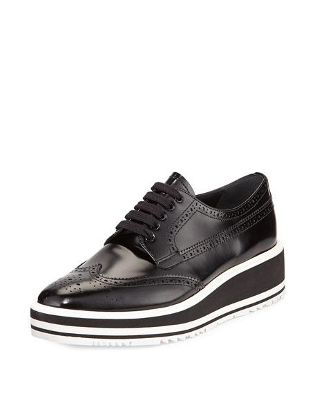 Polished Leather Platform Oxford, Black (Nero)