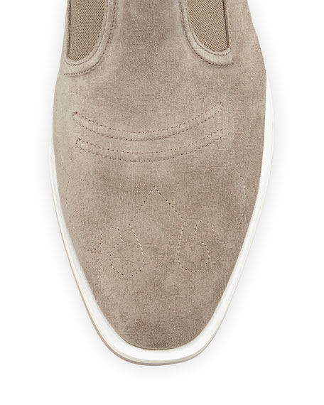 Finlay Suede Ankle Bootie, Stone