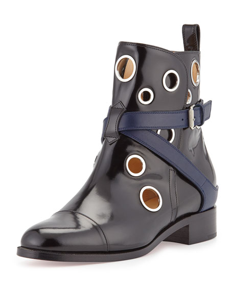 mens louboutin - Christian Louboutin Scuba Grommet-Studded Leather Red Sole Bootie ...